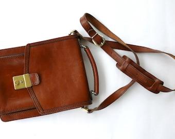 French Vintage Brown Leather Messenger Bag, Mans Leather Shoulder Bag, Tan Brown Leather Satchel, French Purse