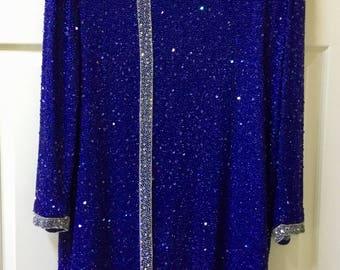 Vintage Sequin & Bead Riazee Boutique Dress / Midi Silk  Evening Dress / SZ M TO L / Party Dress / 1980's / Sheath Dress / Glass Beads /