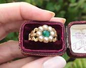 Georgian Emerald and Pearl Ring