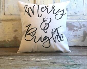 Pillow Cover   Merry & Bright   Christmas pillow   Christmas decor   Holiday pillow   Holiday Decor   Farmhouse Christmas   Hostess Gift