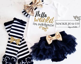 Hello World Personalized Coming home Set Custom Name Gold Glitter with Heart Gold headband and  Legwarmer Set Birth Announcement Bodysuit