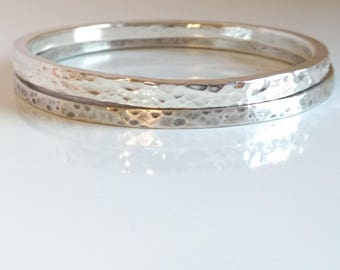 Thick Sterling Silver Bangle Solid Heavy 925 Silver Bracelet Stacking Bracelet Layering Bracelet Hammered Silver Oxidized Silver