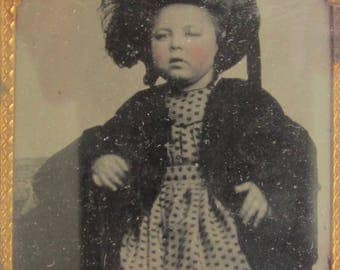Original 1860's Sweet Young Rosie Cheek Girl With Her New Hat 1/9 Plate Encased Tin Type Photograph - Free Shipping