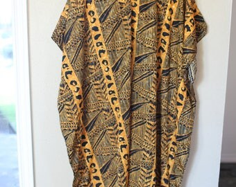 vintage bohemian safari leopard tunic caftan dress *