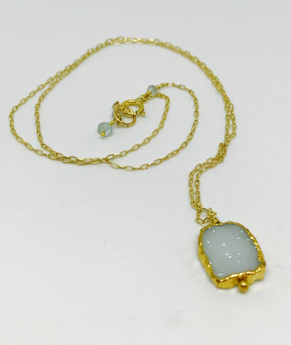 Aquamarine Druzy Necklace, Electroformed Vermeil Gold Aquamarine Pendant, Minimalist Aquamarine, March Birthstone, Throat Chakra Necklace