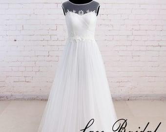 Beach wedding dress Tulle wedding dress Simple A line wedding dress Lace wedding dress Wedding gown