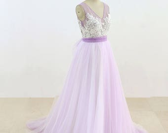 Lavender Tulle Wedding Dress Simple Wedding Dress Lace Bridal Gown Elegant Dress