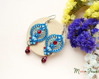 Macrame earrings, flowers, floral, beaded, long, micro-macrame jewelry, beadwork, beadwoven, bohemian, boho, gypsy, white blue red crimson
