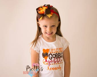 Little Miss Gobble Gobble Shirt or Baby Bodysuit Personalized with Name in Sizes 3 Months to 14 XL -- Girls Thanksgiving Shirt