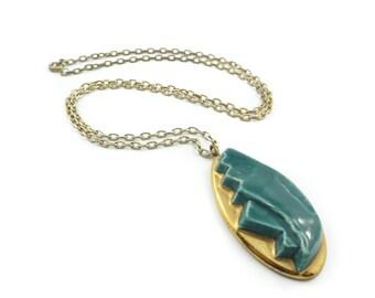 Vintage Pottery Necklace, Modernist, Ceramic