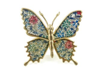 Vintage Enamel Butterfly Brooch, Sparkles