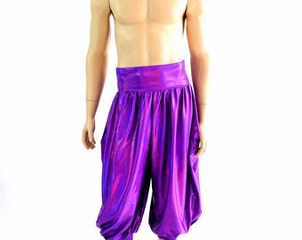 "Unisex ""Michael"" Pants with Pockets in Grape Purple Holographic Festival Rave Lounge Pants 154559"