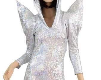 Silver on White Shattered Glass Holographic Mega Sharp Shoulder 3/4 Sleeve Hoodie Romper w/Self-lined Hood - 154684