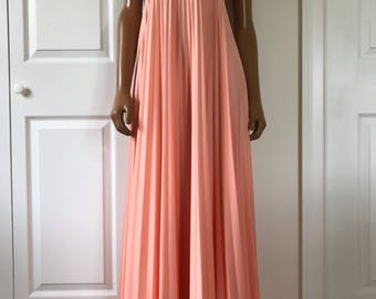 1960s Hippie Maxi Dress Coral Pleated California Boho