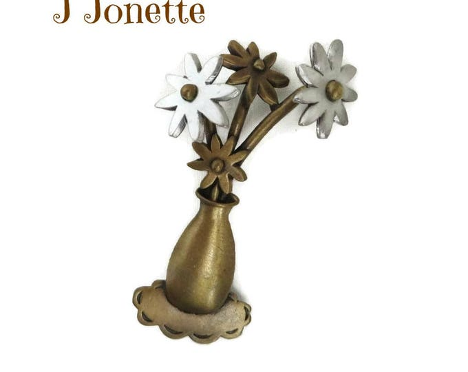 JJ Flowers Brooch, Vintage Two Tone Floral Bouquet Pin, J Jonette Jewelry, Gift for Her, Gift Boxed