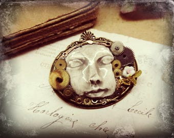 steampunk time mind pin