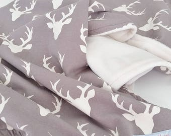 Gray & Ivory Antler Minky Baby Blanket - Gender Neutral - Made to Order