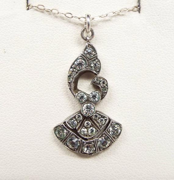 Antique Edwardian Belle Epoque Sterling Silver Dainty Paste Bow Pendant Necklace