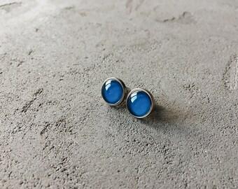 Jeans blue stud earrings, demin blue posts by CuteBirdie