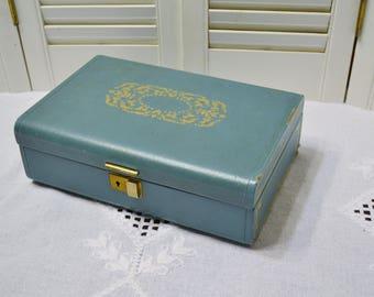 Vintage Turquoise Blue Jewelry Box Farrington Texol Ladies Vanity Dresser Jewelry Storage PanchosPorch