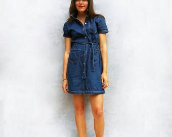 Vintage Denim Dress, Denim Dress, Shirt Dress, Short Dress, Mini Dress, Dress With Pockets, Summer Dress, Blue Denim Dress, Jean Dress, 80s