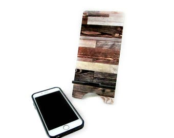 Rustic Cell Phone Stand - Mixed Wood Print Smart Phone Charging Station - iPhone 6 Stand - Rustic Home Decor - Smartphone Stand