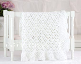 Crochet Blanket PATTERN 149 - Grace - Crochet Baby Blanket PATTERN 149 - Christening Blanket Pattern - Instant Download