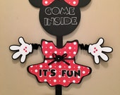 Minnie Mouse Party Door Sign Birthday Wiggle Arm Custom Saying And Color or Room Sign Cute! Minnie party Minnie Decorations