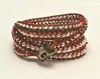 Rose-gold Swarovski Crystal, Chan Luu style leather wrap bracelet. Leather and crystal cuff. Boho chic. Perfect valentine's Day gift for her