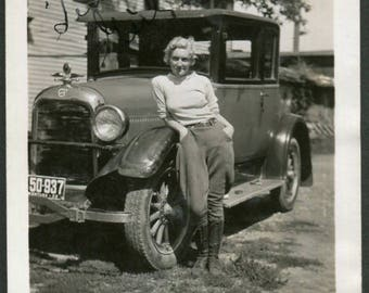 Vintage Photo of Beautiful Woman Leaning on 1930's Ford Car with Montana Plates, Original Found Photo, Vernacular Photography