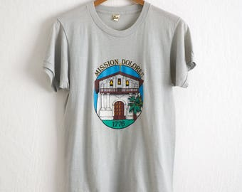 VTG 1986 San Francisco Mission Dolores T Shirt Sz. M Medium Gray SF Giants Tee Bay Area Screen Stars The Mission