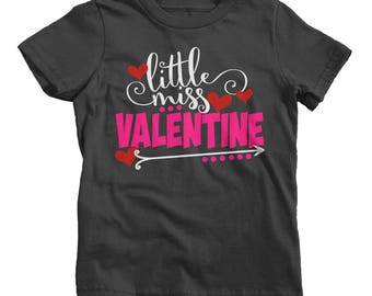 Little Miss Valentine Funny Valentine's Day T-Shirt Girl's Toddler Cute Shirts By Sarah Tee