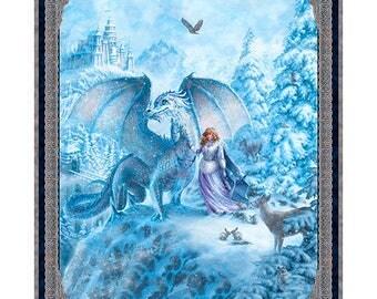 Dragon Fabric, Ice Palace, Ice Dragon Magical Scenic - Digital Print, Artworks VI Liz Dillon for Quilting Treasures 26243 - 36-Inch Panel