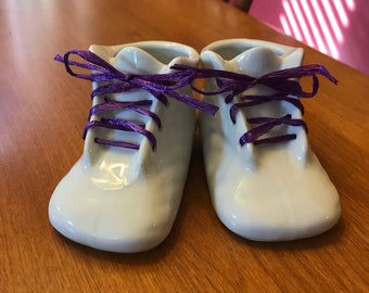 Cute Little White Ceramic Laceable  Baby Shoes