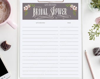 Bridal Shower Gift List - Gifts Received - List of Received Gifts - Bridesmaid - Bridal Shower - Wedding Shower Must Have - Instant Download