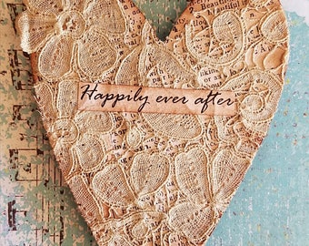 Happily ever after vintage heart magnet