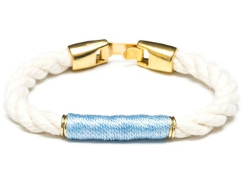 Nautical Rope Bracelet / Ivory Rope Bracelet / Gold Nautical Bracelet / Nautical Jewelry / Nautical Gift / Blue Rope Bracelet
