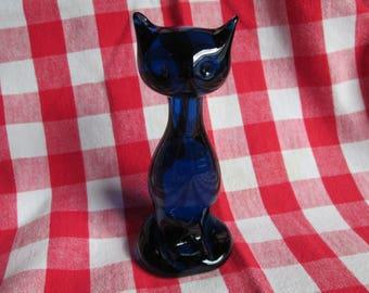 Vintage Cobalt Blue Glass Cat Figurine 5 1/2 inches