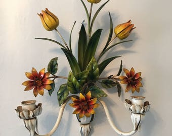 Vintage Tole Floral Wall Hanging - Italian Tole Double Wall Sconce