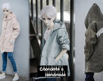 hood jacket coat A185 BJD MSD 1/4 SD10 SD 1/3 SD13 SD17 korean style streetwear pastel pink sky blue army green