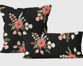 Throw Pillows Covers 18 x 18, Roses Pillow Covers, Decorative Throw Pillows, Couch Cushions, Sofa Cushions, Designer Pillows, Black Pillow