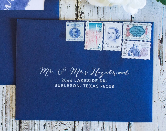 Navy & White Ink Wedding Calligraphy Guest and/or Return Address Envelope Printing, ENVELOPES INCLUDED, Other Colors and Sizes Available