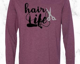 Hair Life Vinyl Tee, Hair Stylist Shirt, Hair Life Cosmetologist Shirt, Glitter Scissors Tee, Hair Life Short Sleeve, Hair Life Long Sleeve