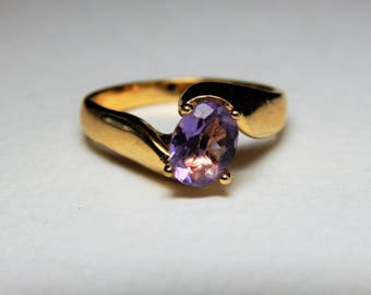 Vintage 925 Sterling Gold Washed Genuine Amethyst Ring - February Birthstone Ring - Amethyst Ring - 1.50Ct Amethyst Gemstone Ring - Amethyst