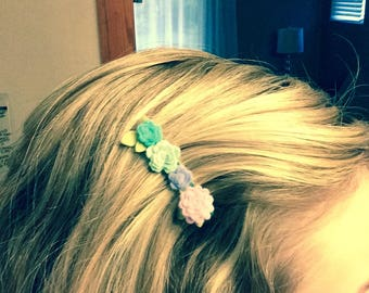 Felt flower alligator hair clips