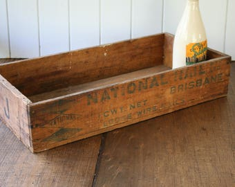 National Nail Box Wooden Crate for Display or Storage Typography Timber Wire Nails Brisbane