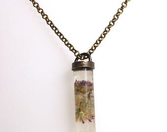 Purple Wild Flower Pendant and Necklace, Brass and Clear Resin