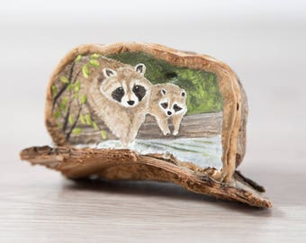 Raccoon Painting on Tree Fungi / Original Artwork