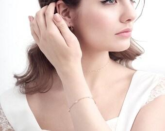 Personalised gemstone choker and bracelet - coordinating wedding jewellery - bridesmaid bracelet - bridal necklace - delicate gold bracelet