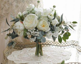 Brooke White Loose Rustic Elegant Silk Wedding Bridal Bouquet Artificial Flowers Posy